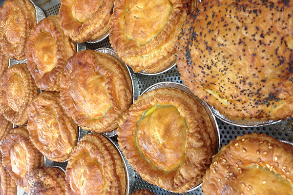 Homemade chunky pies make with real beef and free range chicken
