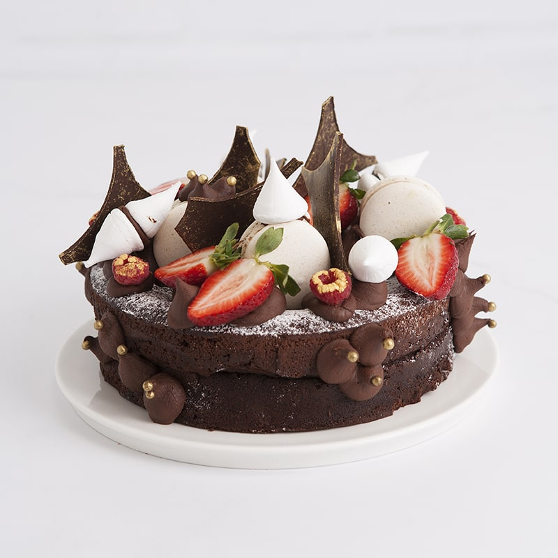 Celebration Cakes by Mrs Jones The Baker - The Jack: Flourless chocolate cake with naked decoration serving 10 to 12 people