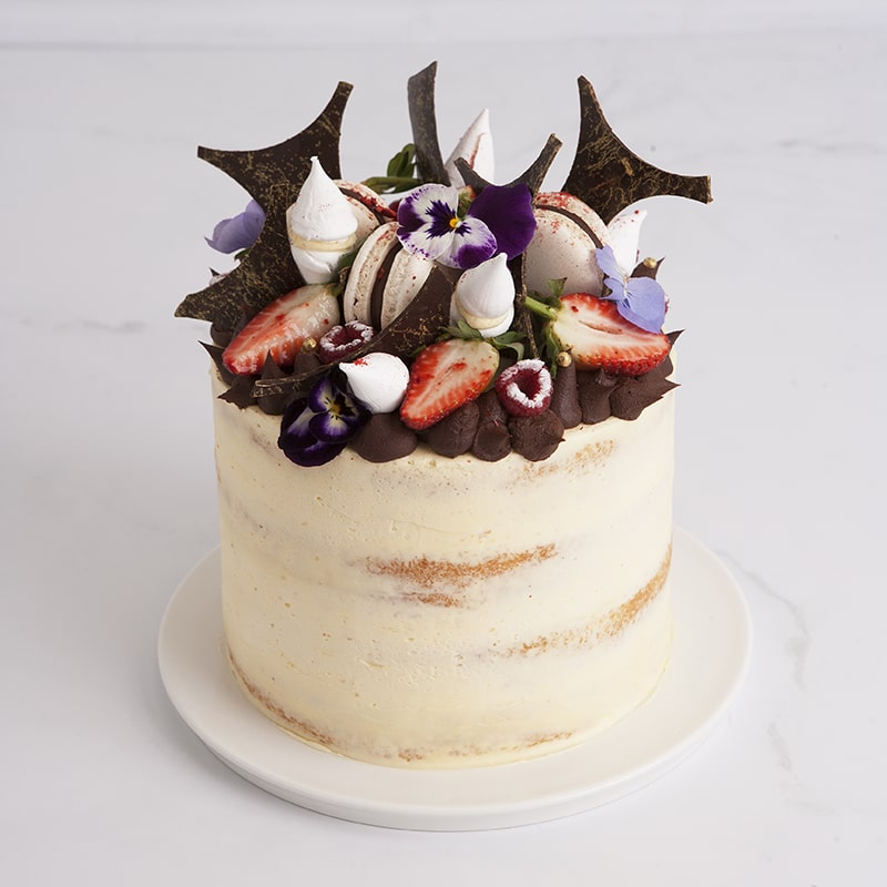 Celebration Cakes by Mrs Jones The Baker - The Brittany: Naked celebration cake with decoration