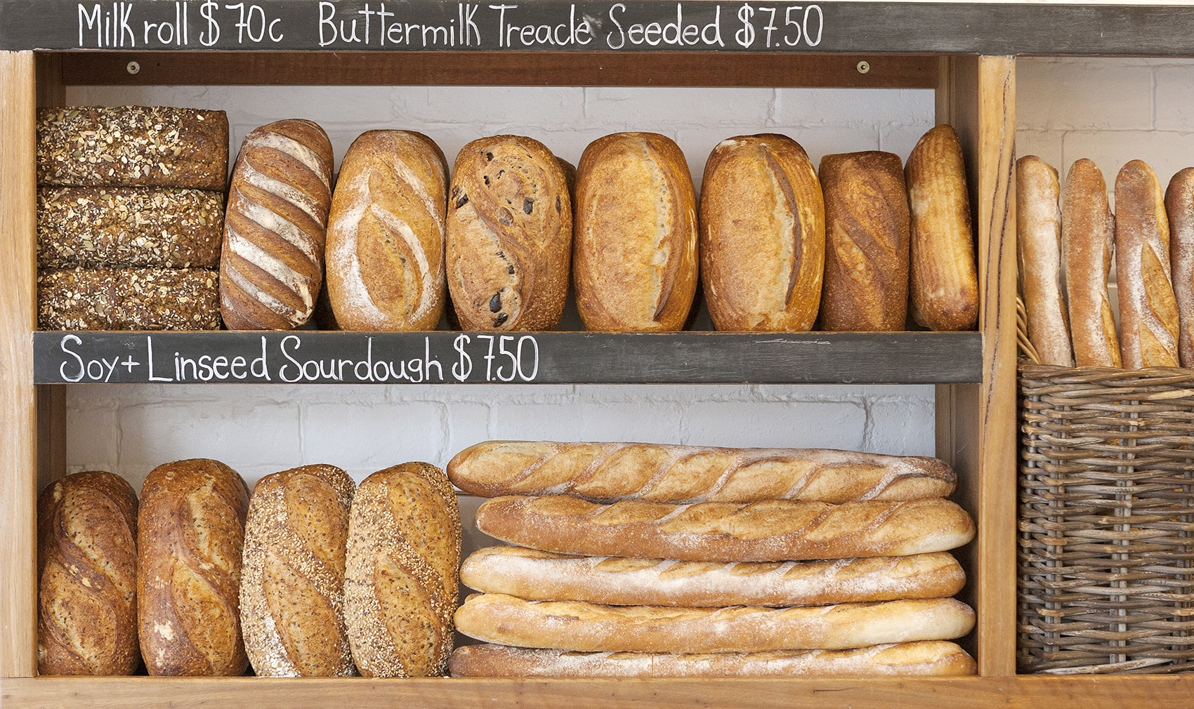 Our abundant range of artisan bread includes white sourdough, soy linseed, wholemeal, rye sourdough, buttermilk treacle, baguettes, fruit, cheddar cumin, charcoals buns and milk rolls