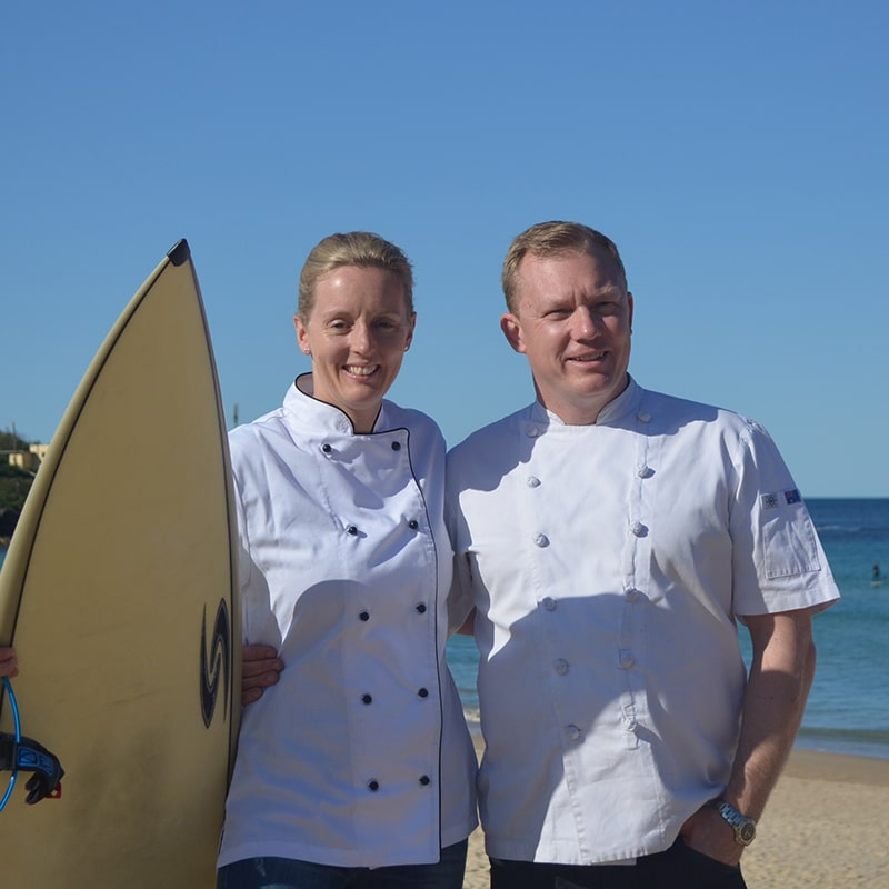 Owners of Mrs Jones The Baker, Lucy Jones and Barry Jones, Professional Pastry Chefs, at Freshwater Beach