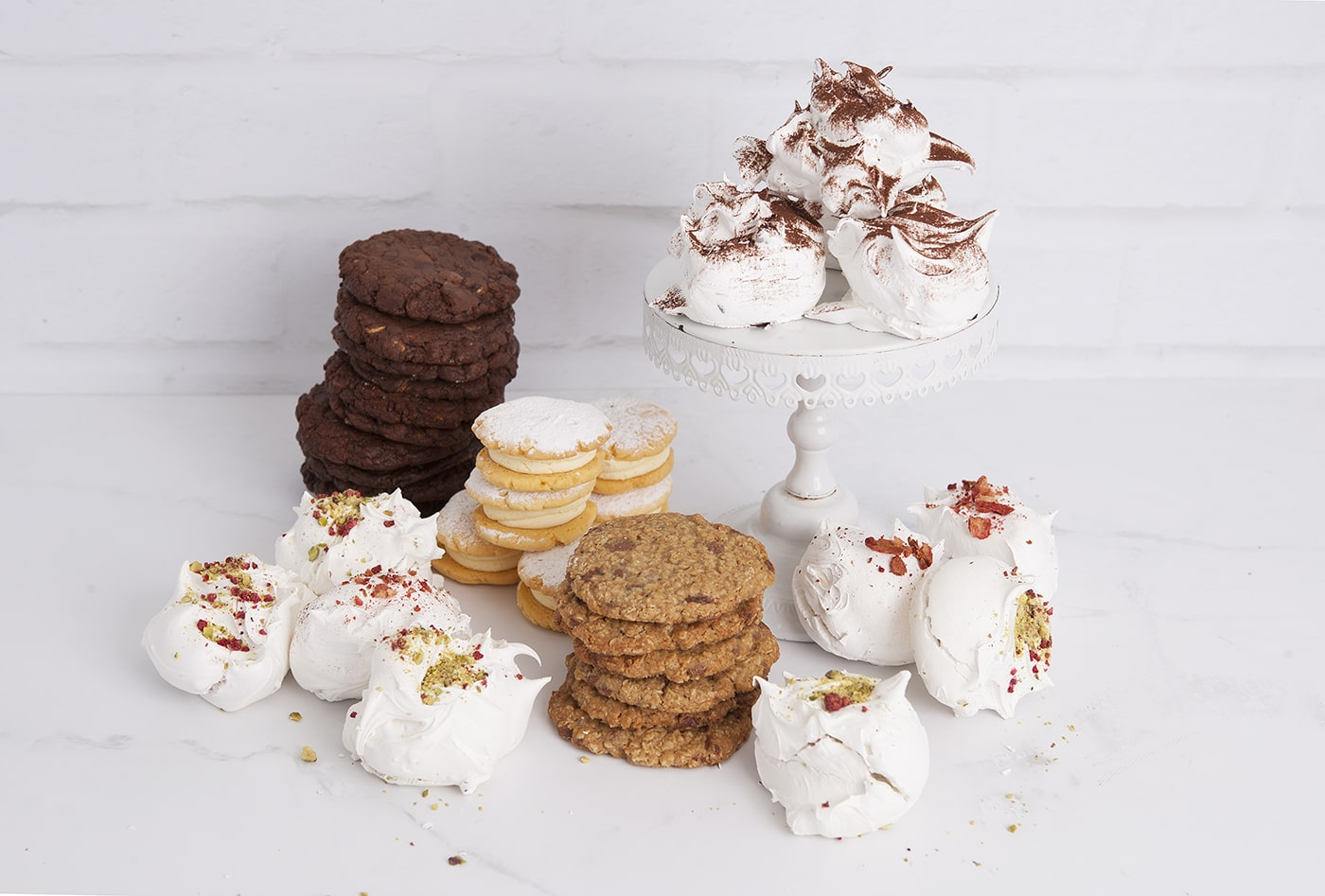 Amazing array of cookies and meringues as well as melting moments made fresh every day at Mrs Jones The Baker