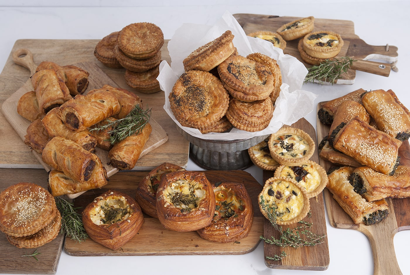 Buttery, puff pastry is the basis of all of our savoury pastries including organic pork sausage rolls, pies, quiches, spinach and ricotta rolls and savoury danish